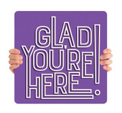 Outline Words Handheld - Purple Glad You're Here HHE066