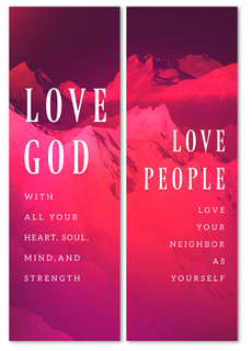 love God love people purple gradient banner