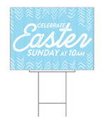 Blue Easter chevron design for yard signs