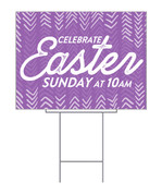 Purple Easter Chevron Yard Sign