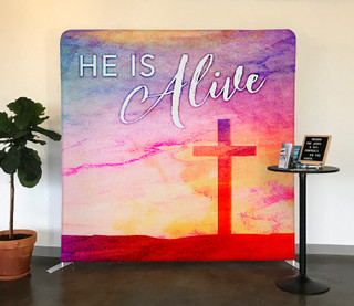 Watercolor He is Alive Tension Backdrop Display