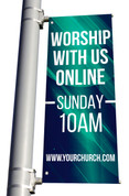 Worship with us online light pole banner