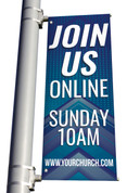 join us light pole banners for online service