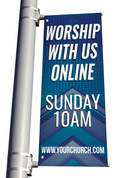 worship with us online banners for parking lot