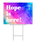 Hope is here yard sign with watercolor style background