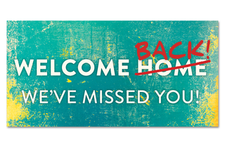 4x8 Size: Distressed Teal Welcome Back Banner