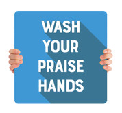 COVID ReOpen Handheld - Style 5 - Praise Hands Blue