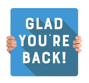 COVID ReOpen Handheld - Style 5 - Glad You're Back Blue