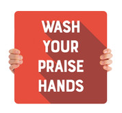 COVID ReOpen Handheld - Style 5 - Praise Hands Red