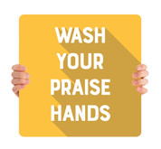 COVID ReOpen Handheld - Style 5 - Praise Hands Yellow