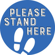 Please Stand Here Circle Floor Decal - Adhesive Vinyl Sticker