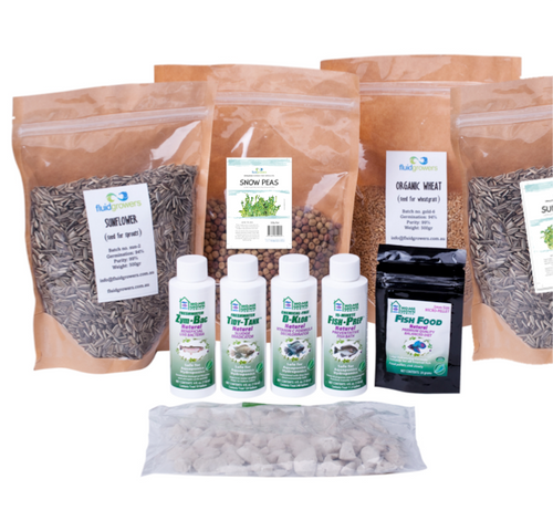 This kit has everything you need to refill or replace your AquaFarm Supplies. 4 varieties of Organic seeds, and our line of refills: Fish Prep 4oz, D-Klor 4oz, Zym-Bac 4oz, Tidy Tank 4oz, 20 grams of fish food and a pack of Growstones