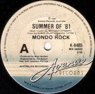 MONDO ROCK  -   Summer of '81/ Mona Lisa (she smiles)/ The fugitive kind (G80322/7s)