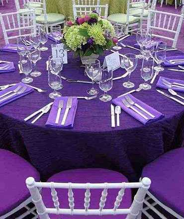 purple crinkle taffeta tablecloths