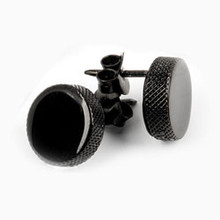 "Sterling silver rhodium, black, or yellow-gold plating - 10mm hockey puck post earrings (3/8""diameter)"