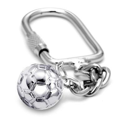 "16mm (approx.5/8""diameter) water polo ball on a keychain."