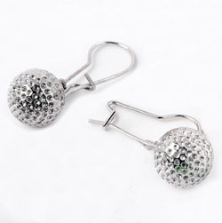 """Rhodium plated or 14k gold plated - 10mm (3/8""""diameter) golf ball"""