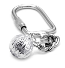 """16mm (approx.5/8""""diameter) basketball on a keychain."""