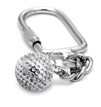 "16mm (approx.5/8""diameter) golf ball on a keychain."
