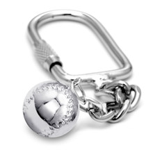 "16mm (approx.5/8""diameter) softball on a keychain."
