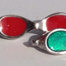 Large Goggle Pendant w/ key chain  & enamel (color)