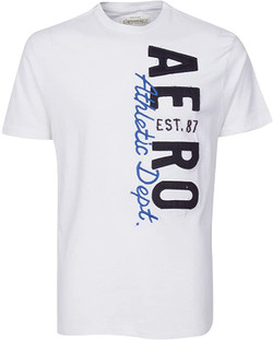 Aeropostale White Aero Est 87 Athletic Dept Mens Fashion T-Shirt