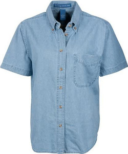 Harvard Square Ladies Denim Short Sleeve Blouse Shirt