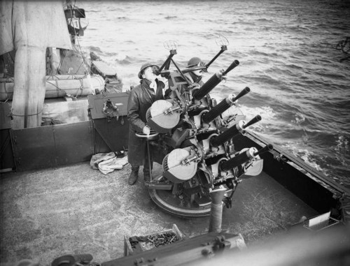 Quadruple Vickers 50-caliber MG's in action