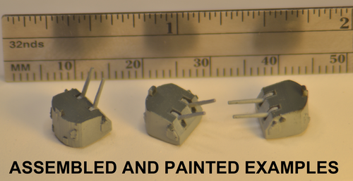 U711: 5-inch 38-Caliber Twin Mounts (Reduced Scale) - the slightly reduced scale works with most kits, which are typically undersized