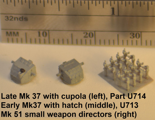Early Mk 37 director U713 (center and right) shown in grey primer.   Use part no U714 for late Mk37 director