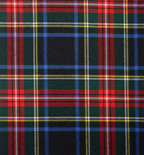 Stewart Black Modern Medium Weight Tartan