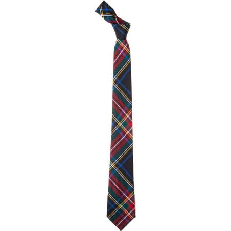 Stewart Black Modern Slim Fit Tartan Tie-CL