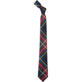 Stewart Black Modern Slim Fit Tartan Tie-CL