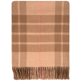 MacQueen Camal Tartan Lambswool Blanket