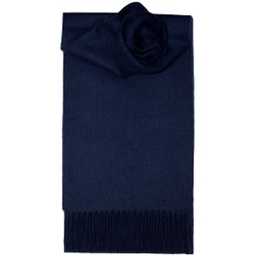 Navy Plain Coloured Lambswool Scarf