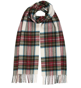 A generously oversized lambswool scarf is available in a collection of classic and new tartans. The proportions of the scarf allow it to be fashionably styled for high impact and effect. Composition: 100% Lambswool  Dimensions: 35 x 215cms (including rope finge)  Dry Clean Only