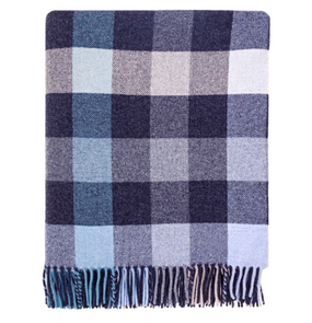 Langholm Charcoal Check Wool Blanket