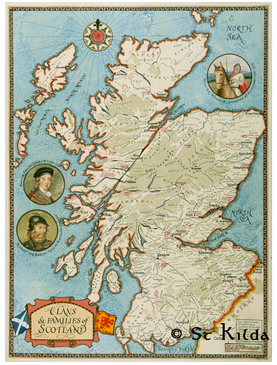 "Clan Map of Scotland (11.7"" x 16.5"")"