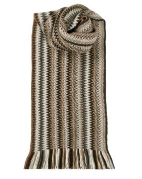 Coffee Shop Zig Zag Wool/Angora Knitted Scarf