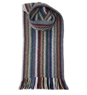 Cappuccino Zig Zag Wool/Angora Knitted Scarf