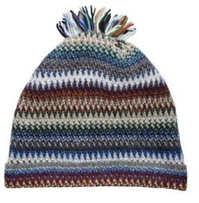 Cappuccino Zig Zag Wool/Angora Knitted Hat
