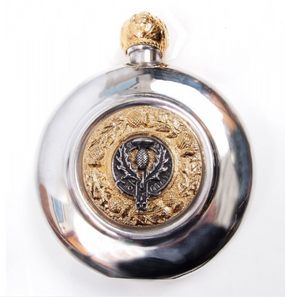Sporran Flask Thistle (Gilt or Silver Badge)