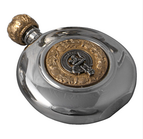 Sporran Flask Scottish Clan Crest (Gilt or Silver Badge)