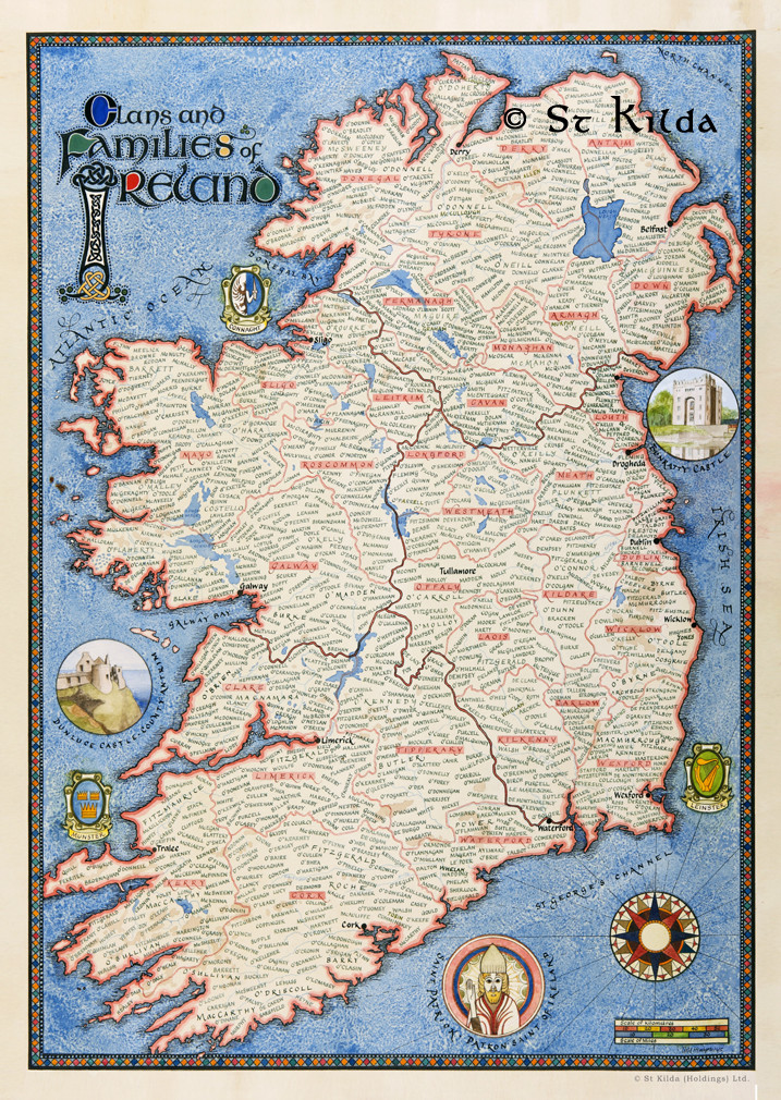 Map Of Ireland Picture.Clan Map Of Ireland 11 7 X 16 5