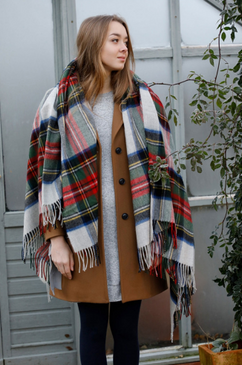 Stewart Dress Silver Tartan Lambswool Serape