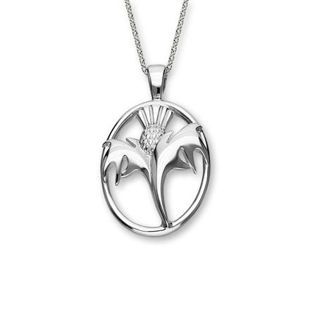 Contemporary Thistle Silver Pendant P673
