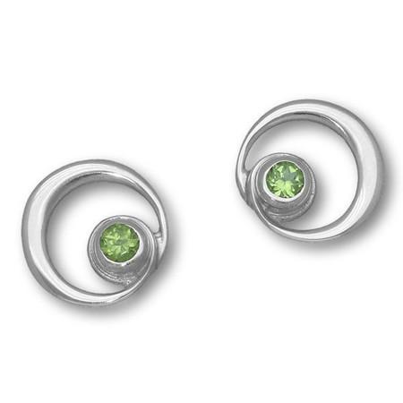 August Birthstone Silver Earrings (Peridot)