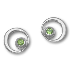 August Birthstone Silver Earrings (Peridot)