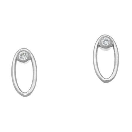 April Birthstone Silver Earrings DE112 Diamond