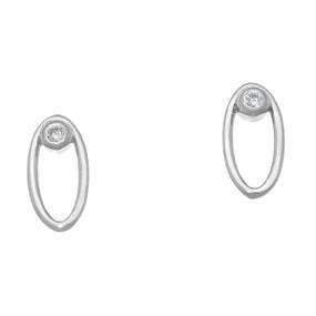 April Birthstone Silver Earrings DE112 Diamond